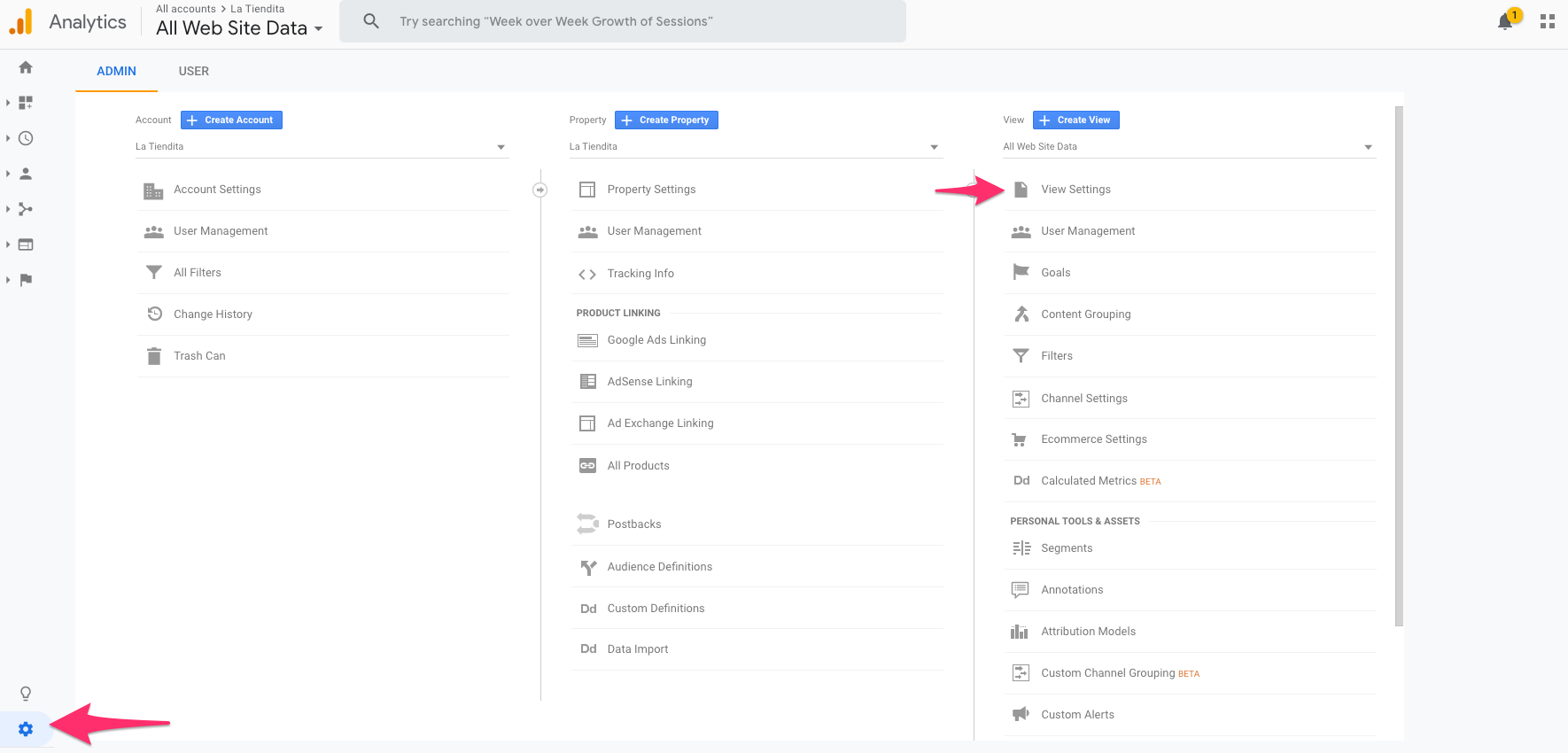 google analytics view settings