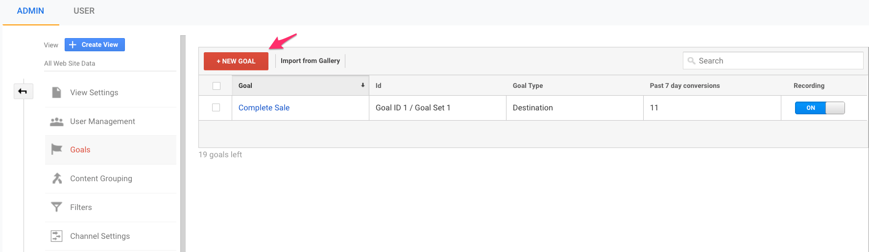 new conversion goal google analytics